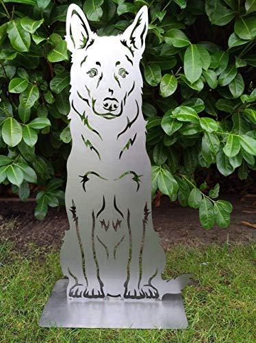 Gartendeko Fockbek Metallfigur Gartenfigur Hundefigur Hund Deko Höhe ca. 80 cm (Schäferhund) Rostfigur Gartenstecker Rost