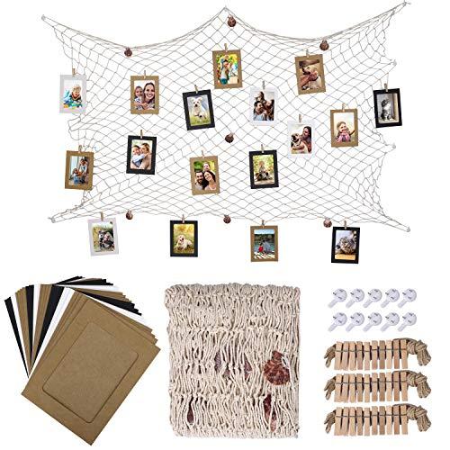 HONGXIN-SHOP Fotorahmen aus Papier Wanddeko DIY Kreative Bilderrahmen Foto hängende Anzeige Foto mit Mini Holzklammern Hanfseil und Fischernetz 30 Stück 3 Farben