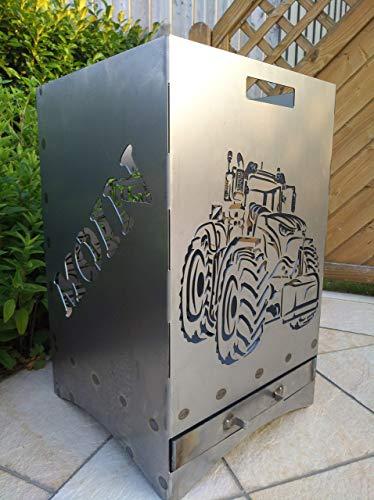 Gartendeko Fockbek Feuerkorb inkl. Aschefach und Zwischenboden sehr stabil Maße ca. 40x40x60cm (Motiv Trecker 1)