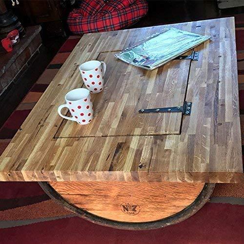 Cheeky Chicks Couchtisch aus recyceltem Whisky-Fass mit Tischplatte aus massiver Eiche, Whisky-Markenlogo und Ablagefach