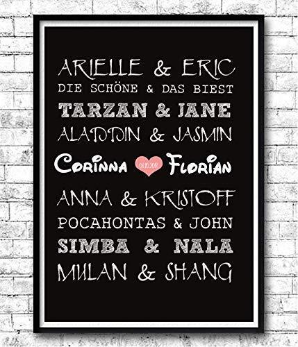 TinyTami  Kunstdruck Hochzeitsgeschenk  Disney Paare  Fantasy  A4 oder A3  Fineart Print  Poster  Bild  Liebe  Hochzeit  Brautpaar 100% handmade