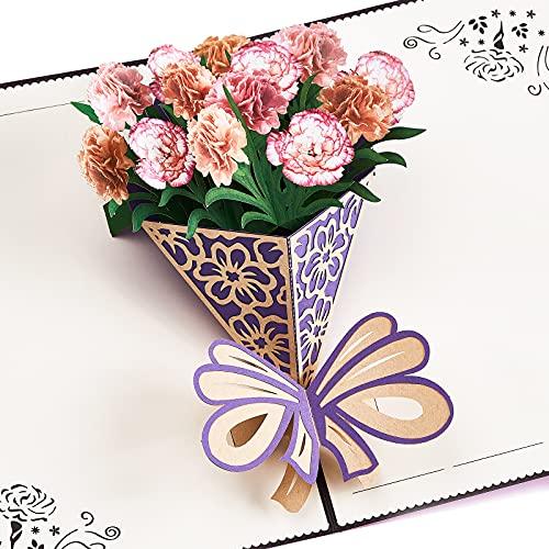 LuluPlus Pop Up Karte, Nelken Geburtstagskarten für Frauen, Grußkarten, Alles Gute Zum Geburtstagskarte, Pop Up Geburtstagskarte, Dankeskarten, Liebes Pop Up Karte, Geburtstagskarte für Mutter, Frau