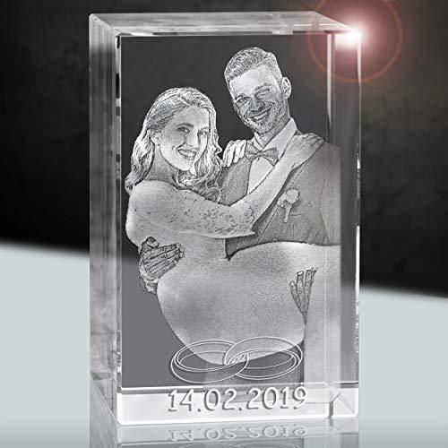3Dglas Hochzeitsfoto im Kristallglas | Geschenk fürs Brautpaar | 2D im 80mm Quader