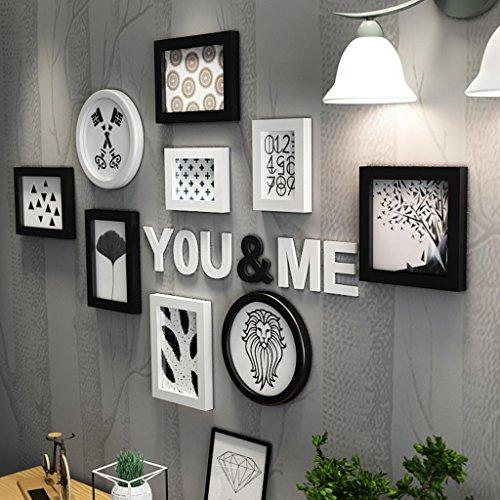 Bilderrahmen Collage Wohnzimmer kreative Holz-Kunststoff-Panel Rahmen Kombination Wanddekoration (Farbe : Schwarz und weiß)