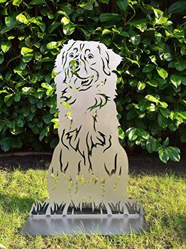 Gartendeko Fockbek Metallfigur Gartenfigur Hundefigur Hund Deko Höhe ca. 80 cm (Berner-Sennenhund) Rostfigur Gartenstecker Rostdeko