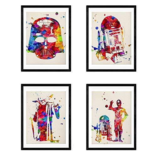 Nacnic Star Wars Poster Set   Star Wars Bilder in Aquarell-Art-Wand-Dekor-Kunst   Set von 4 Blättern   Ungerahmt A4 Größe   250g Papier Hohe Qualität   Startseite Wohnzimmer-Dekoration