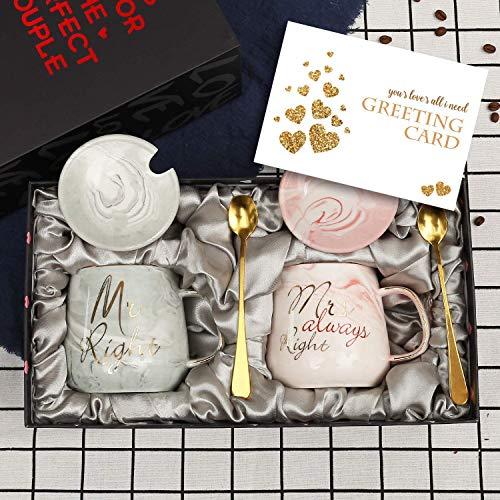 Mr Right und Mrs Always Right Paare Kaffeetassen Tassen Geschenke Set für Verlobung Hochzeit Brautdusche Braut und Bräutigam werden Jungvermählten Jubiläum - Keramik Marmor 13 Unze-Oval