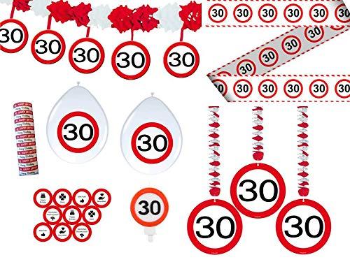 Unbekannt 24-tlg. Partyset 30. Geburtstag Dekoset Dekobox - Verkehrschild - Girlanden, Luftballons