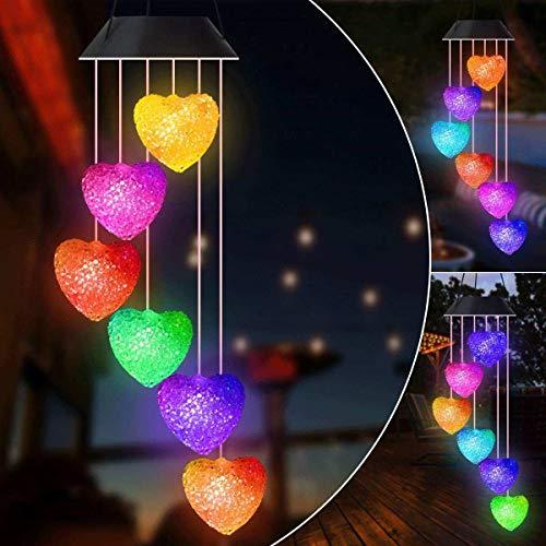 Gerhannery Solar Windspiel Glockenspiele Muttertagsgeschenk Dekor Lamp LED Solar Wind Chime Light Spiral Spinner Color Changing Garden Lamp (Pink Heart)