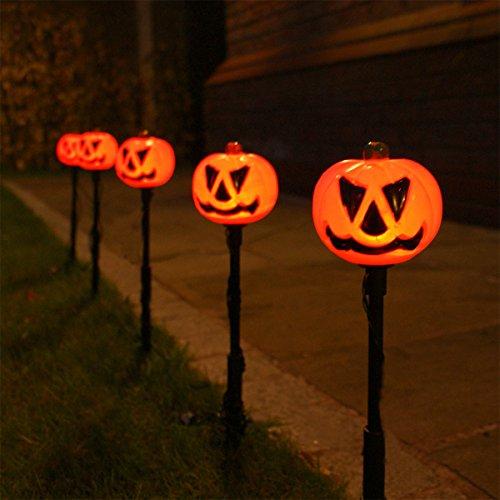 strombetriebenes Set von 5 Außen Halloween Kürbis Steck Leuchten, LEDs orange, von Festive Lights