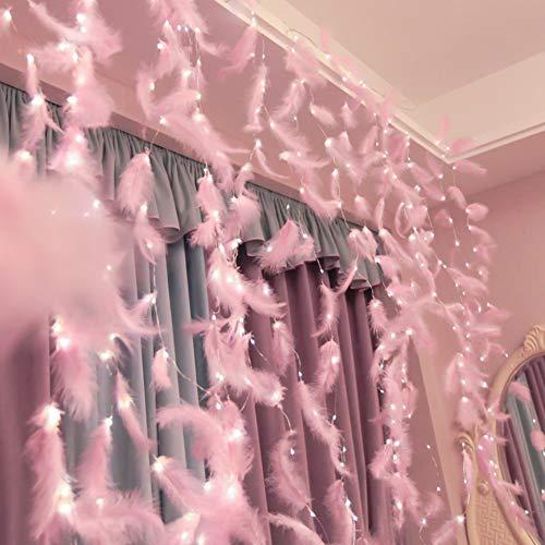 Elitlife 300 LED Federn Lichterketten Federn Lichterkettenvorhang LED lichtervorhang 3M*3M mit 8 Licht Modi Fernbedienung Romantische Wand Vorhang zimmer Deko Schlafzimmer & Innen (Rosa)