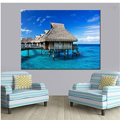 boboyz Leinwand Tropischen Ozean Insel Hütte Landschaft Wand Poster Für Wohnzimmer Wohnkultur HD Leinwand Gemälde Bild Rahmenlose