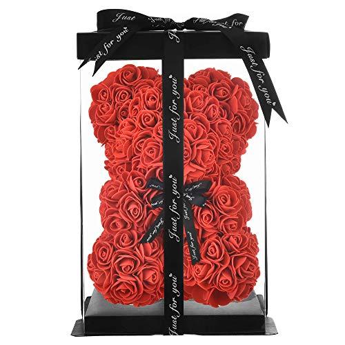 NWSX Rosenbär - Rose Flower Bär Handgemachter Teddybär, Beste künstliche Dekoration Geschenke für Muttertag, Valentinstag, Braut, Hochzeiten, Die perfekte Party Clear Geschenkbox (10in, red)