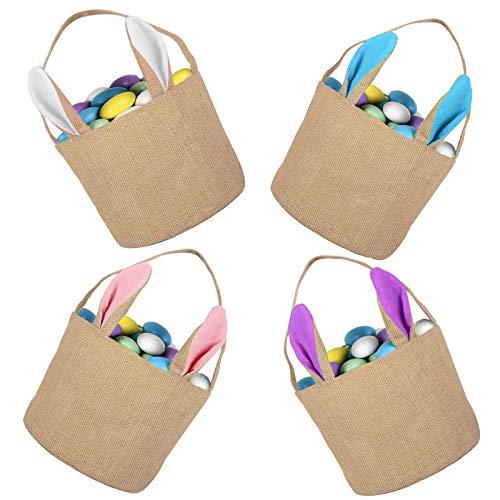 Sirecal 4Pcs Osterhasen Korb Taschen Osterhasen Ohr Korb Jute Sackleinen Tote Handtasche tragen Eier Geschenke für Osterparty Eier Jagd (Weiß + Pink + Blau + Lila)