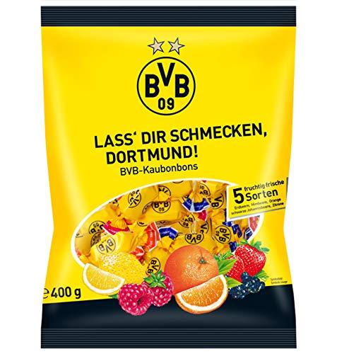 Die fruchtigen Kaubonbons im Borussia Dortmund Design haben eine köstlich, softe Konsistenz beim Kauen und der Beutel enthält gleich 5 verschiedene Sorten (Erdbeere, Himbeere, Orange, schwarze Johannisbeere und Zitrone).