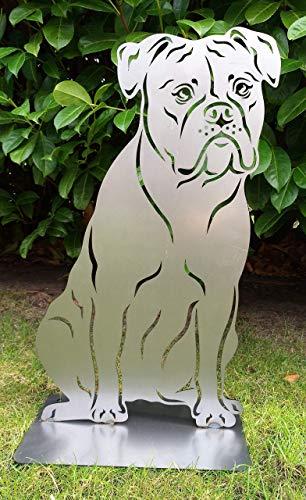 Gartendeko Fockbek Metallfigur Rostfigur Hundefigur Deko Hund Höhe ca. 50 cm (Motiv englische Bulldogge englisch oeb) Rostfigur Gartenstecker