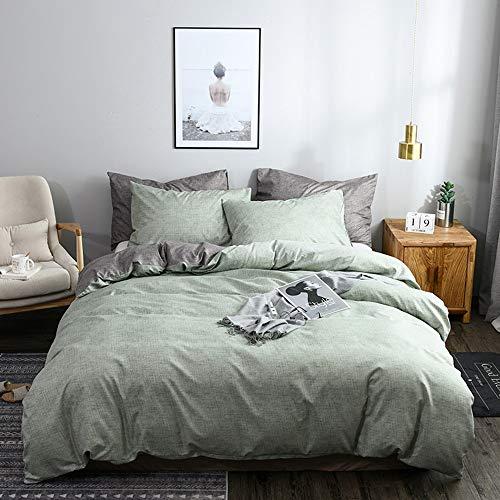 nobrand Bettwäsche Set 135x200cm Grün Grau Unifarben Wendebettwäsche 100% Weiche Angenehme Mikrofaser +1Kissenbezüge 80x80cm