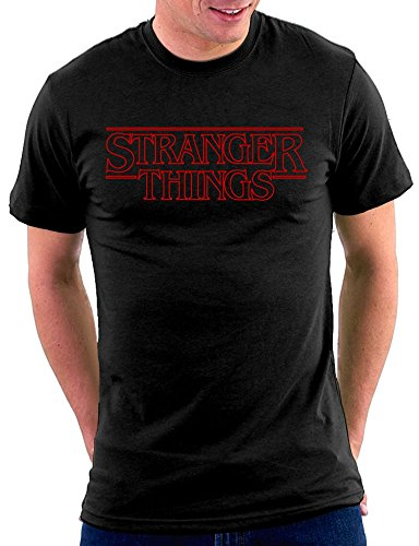 Million Nation Stranger Things Logo T-Shirt, Größe L, Schwarz