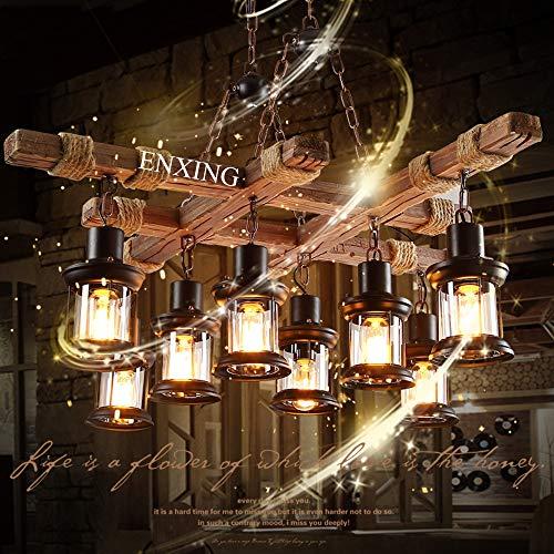 Vintage Hängeleuchte E27 Pendelleuchte Retro Holz Pendellampe Edison Loft Kronleuchter Höhenverstellbar Schwarz Eisen und Glas Lampenschirm Hängelampe für Wohnzimmer Kücheninsel Esszimmer Bar Cafe