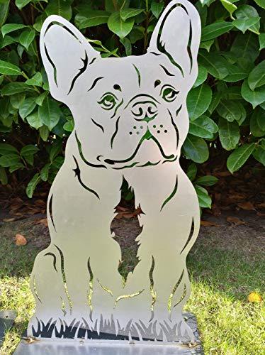 Gartendeko Fockbek Metallfigur Gartenfigur Hundefigur Hund Deko Höhe ca. 50 cm (französische Bulldogge) Rostfigur Gartenstecker Rostdeko)