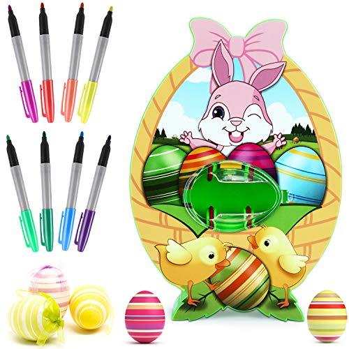 XDDIAS Ostereier Maschine, DIY Ostern Eier Malmaschine mit Spinner und 8 Farben Marker Stiftes, für Kinder Ostereier Spielzeug