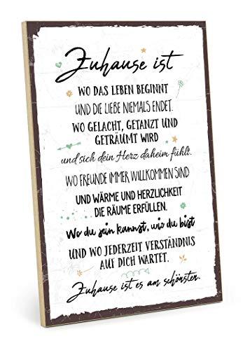TypeStoff Holzschild mit Spruch – Zuhause ist es am schönsten – im Vintage-Look mit Zitat als Geschenk und Dekoration zum Thema Familie und Heimat (19,5 x 28,2 cm)