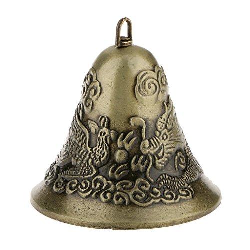 Mini-Feng-Shui-orientalische Chinesische Metallglocke Charme Dekor - Drachen Und Phönix