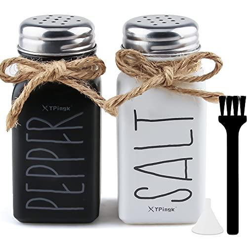 Salz und Pfefferstreuer set 2 Teiliges Gewürzstreuer aus Glas für Salz und Pfeffer Salzstreuer mit Pinsel/Trichter, Country/Vintage Western Style Rustikal Dekoratives Mason Jar salzstreuer klein