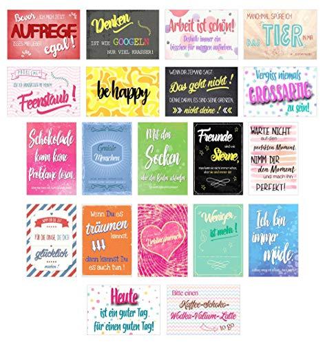 Edition Seidel Set 20 Postkarten mit Sprüchen - Karten mit Spruch - Geschenkidee - Dekoidee - Liebe, Freundschaft, Leben, Motivation, lustig – Postcrossing - Geburtstagskarten Danke Gutschein