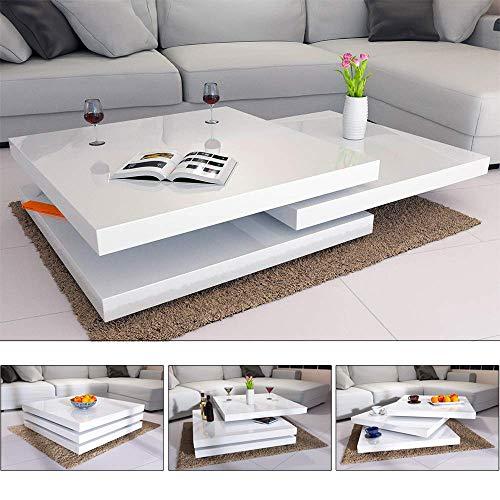 Deuba Couchtisch Hochglanz Weiß 360° Drehbar Cube Design Modern 76x76cm Wohnzimmertisch Lounge Tisch Sofatisch