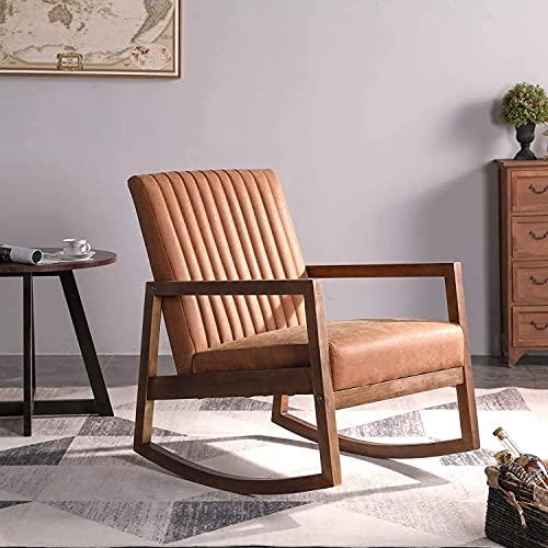 Wahson PU Leder Schaukelstuhl Retro Sessel Gepolstert Akzentstuhl mit Massivholzbeinen Freizeit Relaxsessel für Wohnzimmer/Schlafzimmer/Balkon (Braun)
