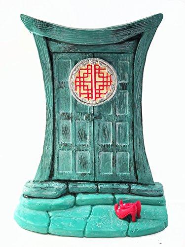 Miniatur-Zen-Fee Tür für Miniatur-Gartenfeen und Gnome - Schöne türkis asiatischen Stil Zen-Fee Miniatur-Tür mit abnehmbaren roten Fee-Schuhe