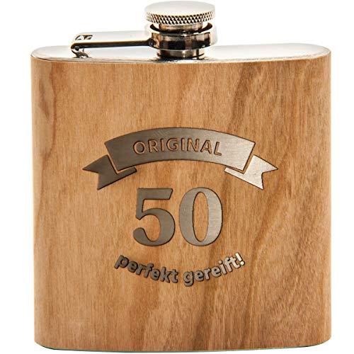 Spruchreif PREMIUM QUALITÄT 100% EMOTIONAL · Flachmann aus Edelstahl mit Gravur und hochwertiger Echtholz Veredelung · perfekte Geschenkidee zum 50. Geburtstag (Original 50 - perfekt gereift)