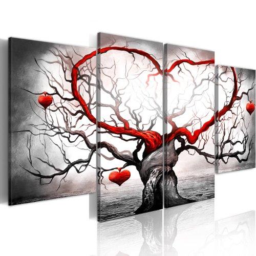 murando - Bilder Liebe 160x80 cm Vlies Leinwandbild 4 Teilig Kunstdruck modern Wandbilder XXL Wanddekoration Design Wand Bild - Love Baum grau rot Abstrakt 5717