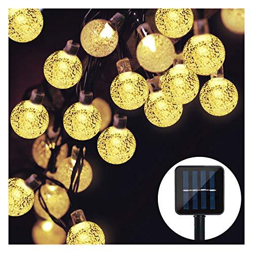 Solar Lichterkette,Mr.Twinklelight 4.5M 30er LED Lichterkette Außen Kristall Kugeln Garten Licht für Garten, Terrasse, Zuhause, Weihnachtsdeko und Partys,Warmweiß