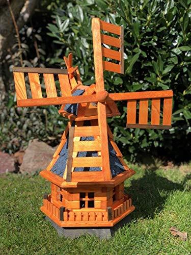 Darlux Sechseck Garten-Windmühle aus Holz kugelgelagert Braun in Höhe 70 cm (Windmühle L, Braun/Blau)