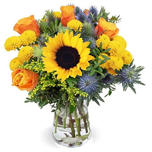 Blumenstrauß Sonnenkuss, Sommerblumenstrauß mit Sonnenblume, Schnittblumen, Blumenversand, gratis Blumenvase, 7-Tage-Frischegarantie, versandkostenfrei bestellen
