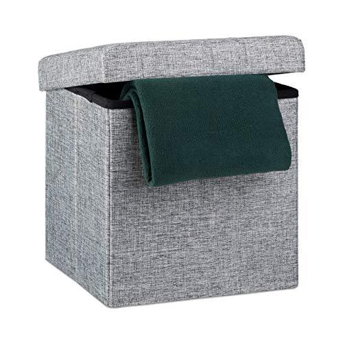 Relaxdays Faltbarer Sitzhocker, Sitzcube als Fußablage, Sitzwürfel aus Leinen, Deckel zum Abnehmen, 38x38x38 cm, grau
