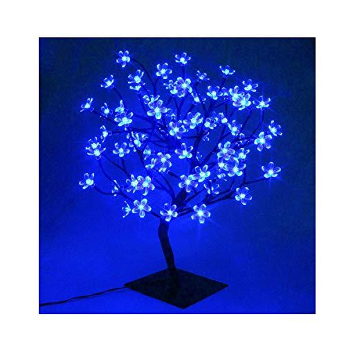 60cm LED Baum Bäumchen Mit 90er Blüten Blütenbaum Kirschbaum Lichterbaum Baum für Weihnachten Hochzeit Partei Innen Dekoration(Blau)