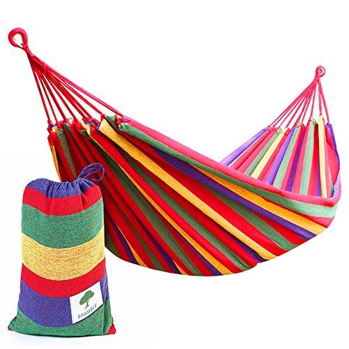 Tragbare Hängematte – ideal für Outdoor, Garten, Freizeit, Reisen oder Camping – Belastbarkeit bis 150 kg