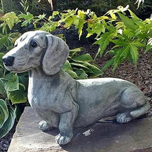 SSLLH Gartendeko Garten Statue,Dackel Statue Memorial Dog Figuren,Harz Handwerk Bulldogge Statue Hund Dekorationen für das Haus,Patio,Rasen,im Freien,Hausgarten Dekoration Harz Ornament