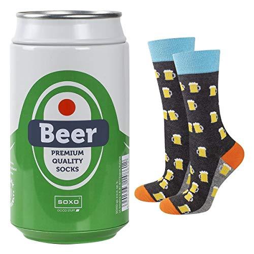 soxo lustige Herren Socken Bier Geschenkdose   Größe 40-45   Bunte Herrensocken aus Baumwolle mit witzigen Motiven   Besondere, mehrfarbig gemusterte Lange Socken für Männer