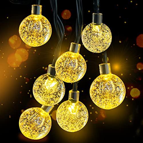 Solar Lichterkette, 30 Süße Blase LED Lichter, 6,5M / 20Ft 8 Modi Sternenlichter, Wasserdichte Feenhafte Dekorative Lichterketten für Außen, Hochzeits, Wohn, Garten, Terrassen, Party (Warmweiß)