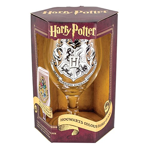 Harry Potter Colour Change Glas mit Wappen, Trinkglas mit Farbwechsel, 16x7 cm