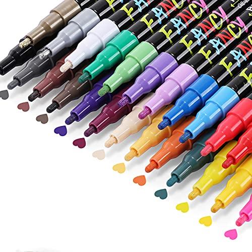 Emooqi Acrylstifte für Steine Bemalen Set, 24 Farben Permanenter Acrylfarben Stifte Zum Steine Wasserfester Schnell Trocknende Acrylstifte Paint Pen auf Ölbasis für Stein/Keramik/Glas/Holz/Osterei