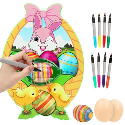 Wishstar Osterei Dekorationsset,Osterei Maschine mit Spinner,Eiermalmaschine Enthalten 8 Farben Marker Stiftes,Ostern,Kindertag Happy DIY Geschenke für Kinder