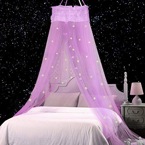 Jeteven Moskitonetz Kinder, Moskitonetz Mädchen Prinzessin Moskitonetz Moskitonetz Bett reise,Abweisendes Netz,Enthält Fluoreszierende Sterne Dekorative Schneeflocke (Lila)