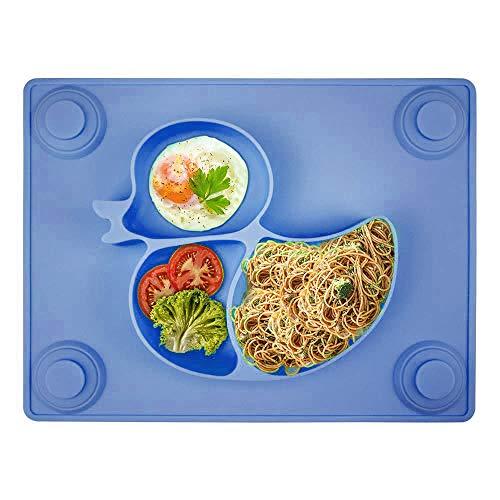 Kinderteller mit Saugnapf - Silikon Rutschfest Baby Teller für Kinder und Kleinkind, Baby Tischset für die meisten Esstische und Hochstuhl-Tabletts - 26x20x3cm(Blau)