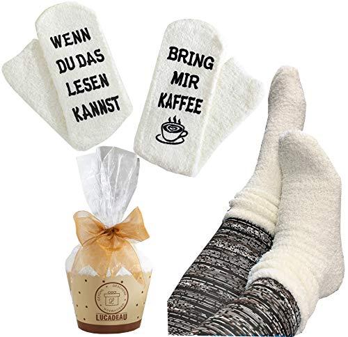 Lucadeau Socken mit Kaffee Spruch auf der Sohle WENN DU DAS LESEN KANNST, BRING MIR Kaffee, Kaffee Geschenk, Geburtstagsgeschenke für Freundin Schwester Mama Muttertag