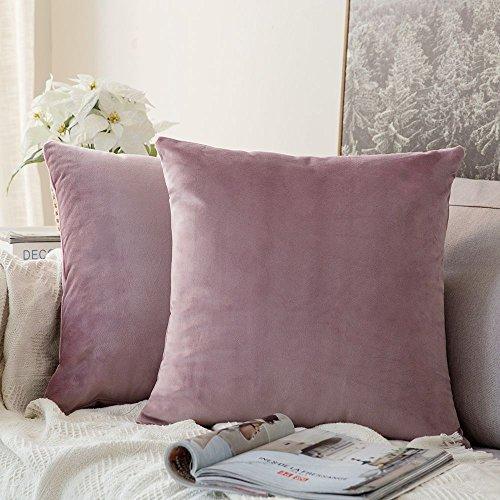 MIULEE Packung von 2, Purer Weicher Dekorativ Sofa Kissenbezug Kissenhülle Set Kissen Fall für Sofa Schlafzimmer Auto Pink Lila 18 x 18 inch 45 x 45 cm